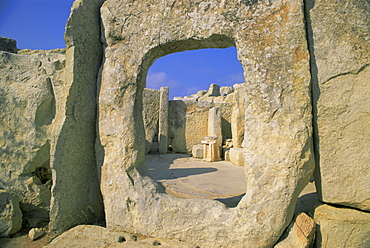 Megallithic temple dating from c. 3000 B.C., Hajar Qim (Hagar Qim), near Zurrieq, UNESCO World Heritage Site, Malta, Europe