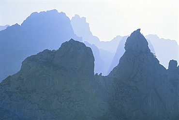 Ridges of jagged limestone peaks over 2000m high in the Valdeon area, near the Cares Gorge, in the Picos de Europa mountains in Cantabria, Spain, Europe