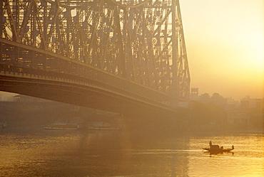 The Howrah Bridge over the Hugli River, Calcutta, West Bengal, India