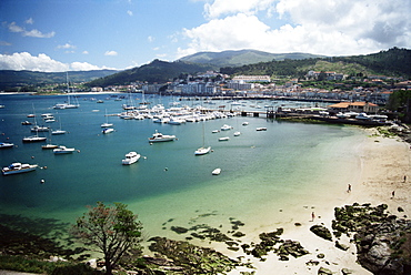 View of beach, harbour and town, Bayona, Galicia, Spain, Europe