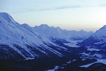 View southwest towards the Maloja Pass, with Mount Piz Rosatsch (3134m) on left, Upper Engadine Valley, Graubunden, Swiss Alps, Switzerland, Europe
