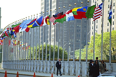Line of flags outside the United Nations Building, Manhattan, New York City, United States of America, North America