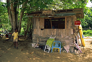 An old shack on the beach selling food and drinks, Castara, Tobago, West Indies, Caribbean, Central America