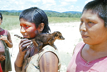Gorotire Indian girl with pet coati, Xingu, Brazil, South America