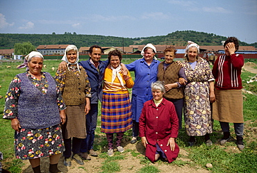 Portrait of a group of women and one man in Bulgaria, Europe