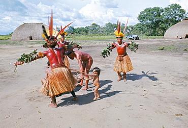 Kamayura Indians dancing the fish dance, Xingu, Brazil, South America