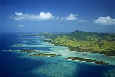 Aerial view over Yasawa Island, Fiji, Pacific Islands, Pacific