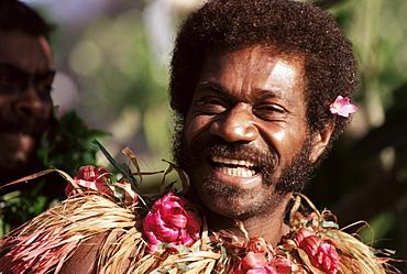 Laughing villager, Daloma village, Yasawa Island, Fiji, Pacific