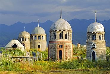 Traditional Kirghiz cemetary, near Burana Tower, Kyrgyzstan, Central Asia