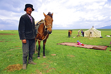 Nomad at home, Lake Son-Kul, Kyrgyzstan, Central Asia