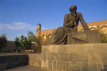 Statue of mathematician Al-Khorezmi, Khiva, Uzbekistan, Central Asia, Asia