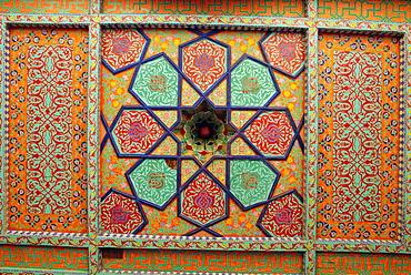 Painted ceiling, Tash Khauli Palace, Khiva, Uzbekistan, Central Asia