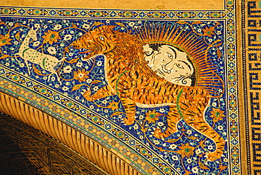 Ceramic detail, Sher Dor madressa, Registan Square, Samarkand, Uzbekistan, Central Asia