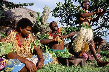 Kava ceremony outside, Daloma village, Yasawa Island, Fiji, Pacific