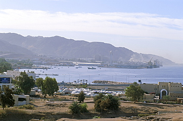 View of the port, Aqaba, Jordan, Red Sea, Middle East