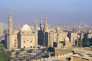 Sultan Hassan and Rifai mosques from Citadel, Cairo, North Africa, Africa