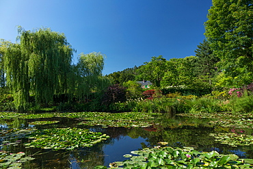 Monet's house behind the waterlily pond, Giverny, Normandy, France, Europe