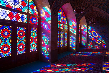 Stained glass windows of Prayer Hall, Nasir-al Molk Mosque, Shiraz, Iran, Middle East