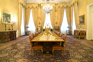 Dining room, White Palace, the last Shah's Summer Palace, Sa'ad Abad, Tehran, Iran, Middle East