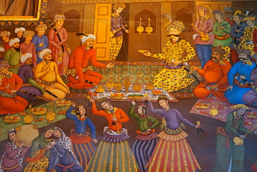 Mural of reception for Ruler of Turkistan, 1621 AD, Chehel Sotun (Chehel Sotoun) (40 Columns) Palace, Isfahan, Iran, Middle East