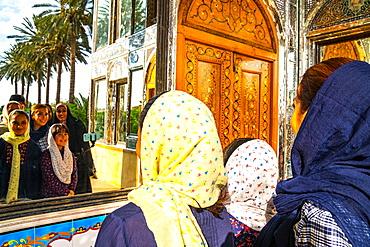 Family taking a selfie in Bagh-e Narajestan (Citrus Garden), Shiraz, Iran, Middle East