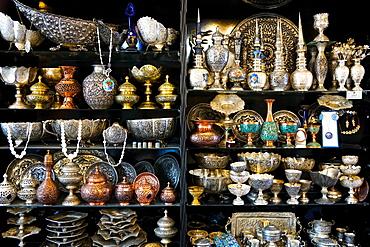 Metalwork for sale, Grand Bazaar, Isfahan, Iran