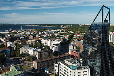 Cityscape of modern buildings and Baltic Sea, Tallinn, Estonia, Europe