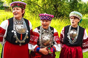Three Seto women, singing polyphonically at a Feast Day, Uusvada, Setomaa, SE Estonia, Europe