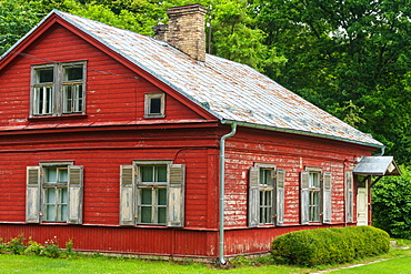 Old 19th century wooden family house, Latvian Ethnographic Open Air Museum, Riga, Latvia, Europe