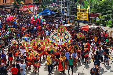 Lezo Tribe leading a procession at the annual Ati-Atihan Festival, Kalibo Island, Philippines, Southeast Asia, Asia