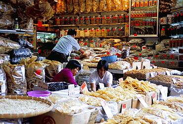 Dried seafood shop, Des Voeux Road West, Sheung Wan, Hong Kong Island, Hong Kong, China, Asia