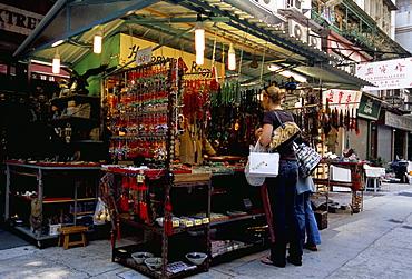 Curios stall, Upper Lascar Row, Cat Street, Hong Kong Island, Hong Kong, China, Asia
