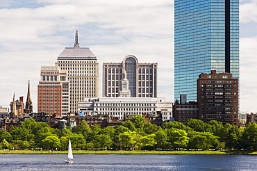 The John Hancock Tower and city skyline across the Charles River, Boston, Massachusetts, USA