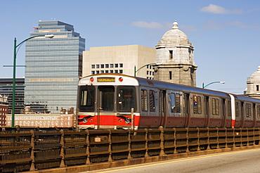 M.B.T.A. (T train) crossing Longfellow Bridge, Boston, Massachusetts, New England, United States of America, North America