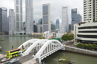 Elgin Bridge, Boat Quay and the Financial District beyond, Singapore, South East Asia