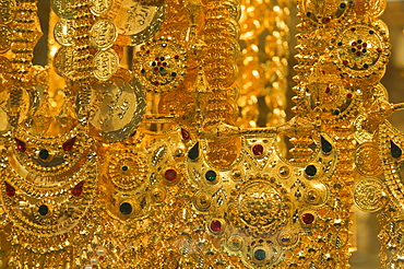 Close-up of gold jewelry in the Gold Souk, Deira, Dubai, United Arab Emirates, Middle East