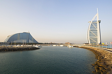 Jumeirah Beach Hotel and Burj Al Arab Hotel, Dubai, United Arab Emirates, Middle East