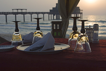 Table for two on the beach, Dubai, United Arab Emirates, Middle East