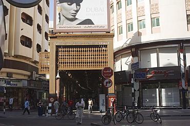Entrance to the Gold Souk, Deira, Dubai, United Arab Emirates, Middle East