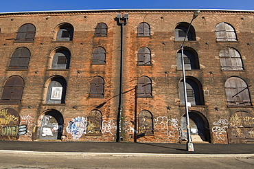 Derelict warehouses in the DUMBO (Down Under Manhattan Bridge Overpass) neighbourhood of Brooklyn, New York City, New York, United States of America, North America
