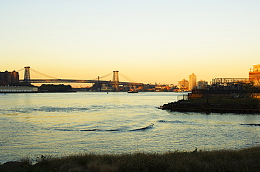Williamsburg Bridge and the East River, New York City, New York, United States of America, North America