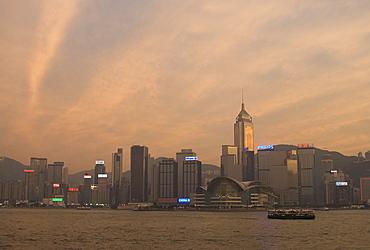 Wanchai District across Victoria Harbour, Hong Kong Island, Hong Kong, China, Asia