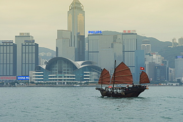 One of the last remaining Chinese sailing junks on Victoria Harbour, Hong Kong, China, Asia