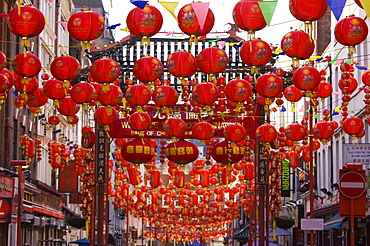 Gerrard Street, Chinatown, during the Chinese New Year celebrations, decorated with colourful Chinese lanterns, Soho, London, England, United Kingdom, Europe
