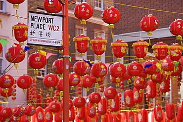 Chinatown, during Chinese New Year celebrations colourful lanterns decorate the surrounding streets, Soho, London, England, United Kingdom, Europe
