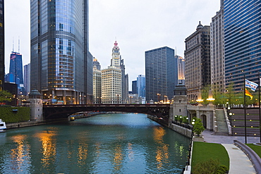 Buildings along Wacker Drive and the Chicago River, Trump Tower centre left, Chicago, Illinois, United States of America, North America