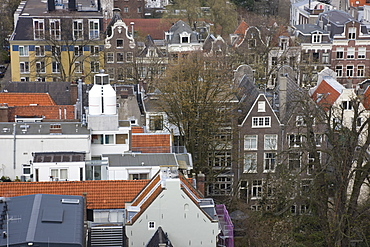 High angle view of Amsterdam, the grey house at the bottom with the single window is the Anne Frank House, Amsterdam, Netherlands, Europe