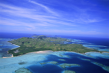 Aerial view of Yasawa Island, one of the driest parts of Fiji, Yasawa group, Fiji, South Pacific islands, Pacific
