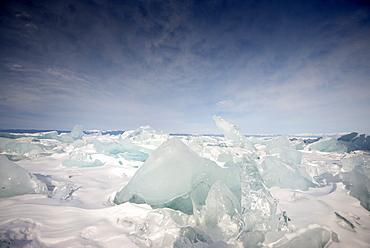 Rough ice formed at Olkhon Island as the waves freeze at the beginning of winter, Lake Baikal, Irkutsk Oblast, Siberia, Russia, Eurasia