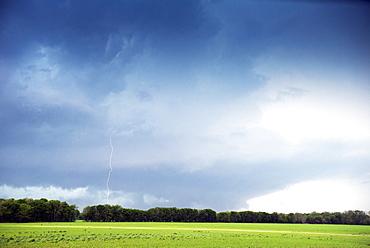 Cloud to ground lightning flash or strike, Oklahoma, United States of  America, North America